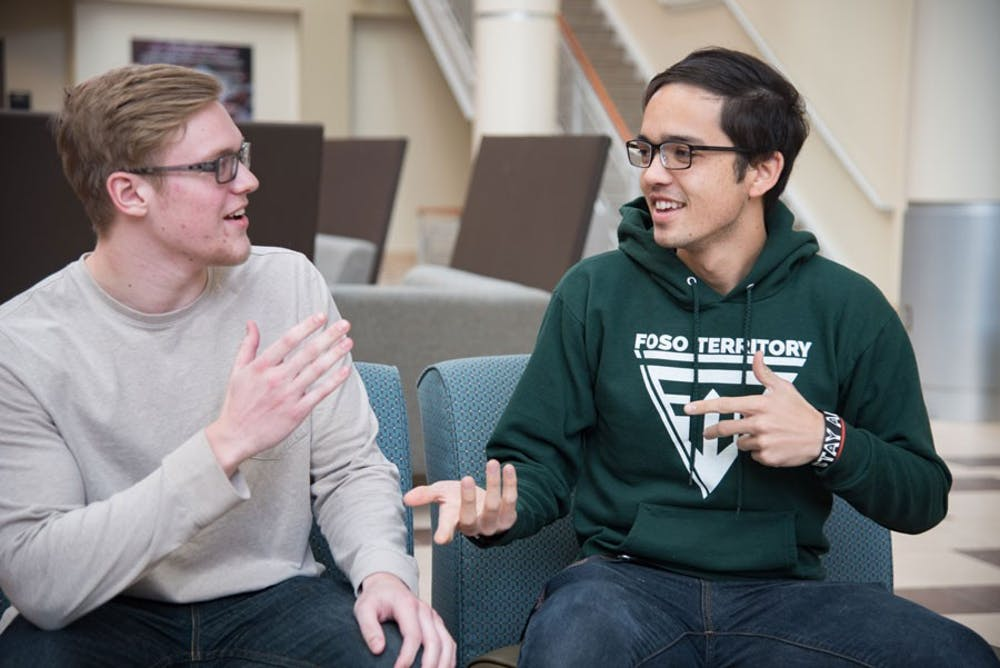Ruggiero (left) will be Taylor's first cybersecurity major this fall; Dinsmore wants to attend grad school, get a doctorate and become a professor (photo by Mindy Wildman).